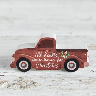 """Home for Christmas"" Red Truck Mini Block Sign"