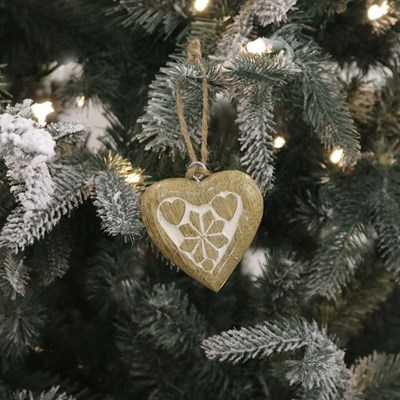 Mango Wood Heart Ornament