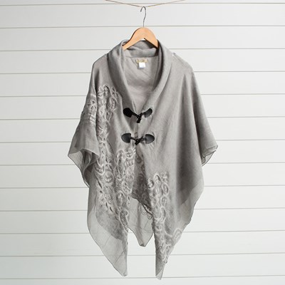 Oh Gussie! Gray Embroidered Toggle Shawl