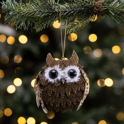 Gold Glitter Feathered Owl Ornament
