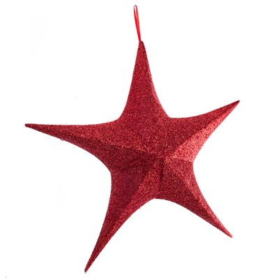 Light-Up Folding Tinsel Star Decor - Red