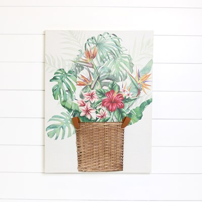 3D Floral Basket Canvas