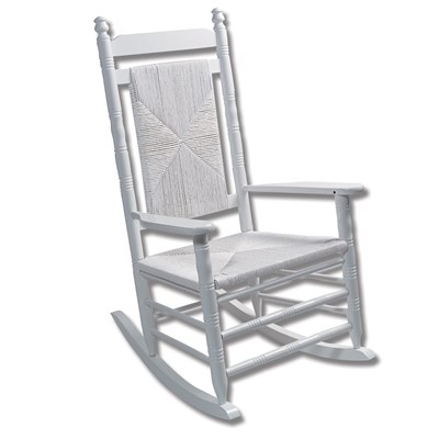 Fully Assembled Woven Seat Rocking Chair - White