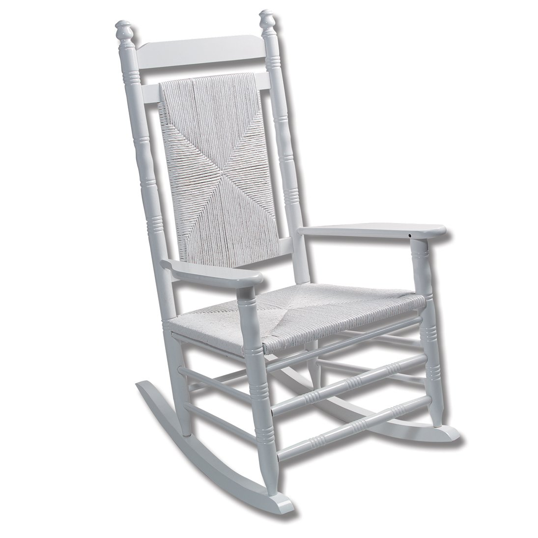 Fully Assembled Woven Seat Rocking Chair   White