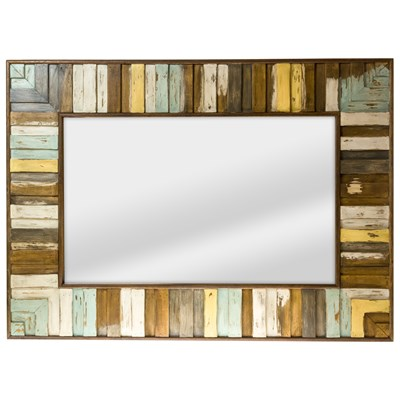 Striped Wood Wall Mirror