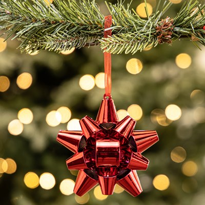 Shiny Red Gift Bow Ornament