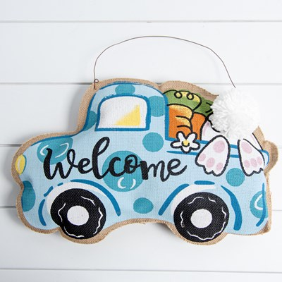 Burlap Welcome Truck Wall Decor