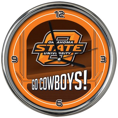 Chrome Wall Clock - Oklahoma State
