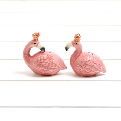 Flamingos W/Crown Salt And Pepper Set