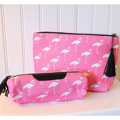 2-Piece Flamingo Travel Bag