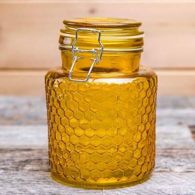 Yellow Honeycomb Glass Canister - Small