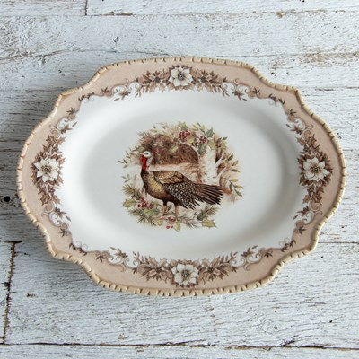 Stoneware Woodland Turkey Oval Platter