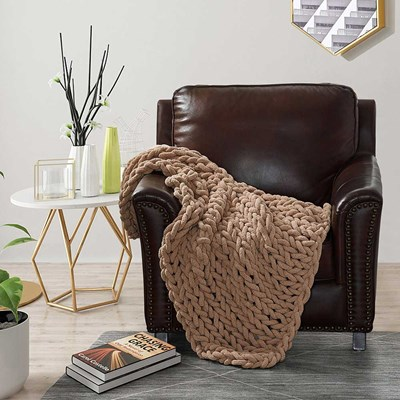 Chenille Knitted Throw - Mink