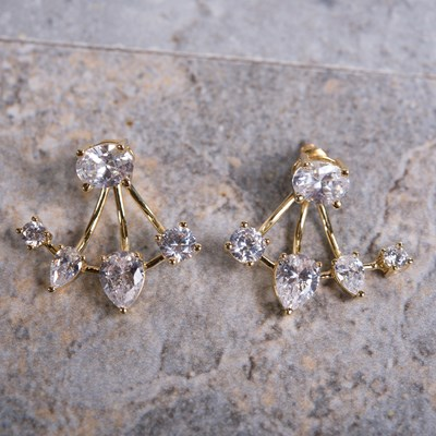 Gold Cubic Zirconia Stud Earring with Enhancer