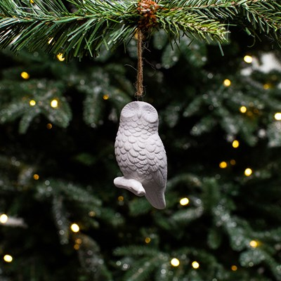 White Ceramic Owl Ornament