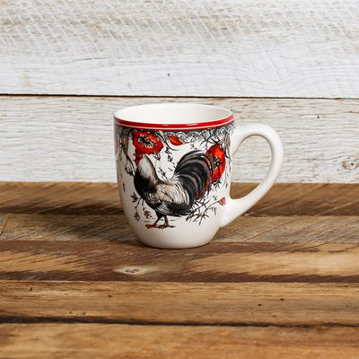 White Rooster Mug - Left Facing