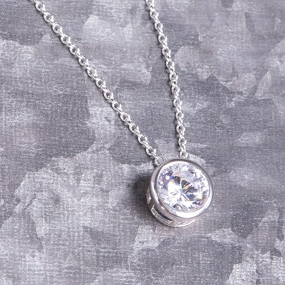 "Silver Bezel Set Cubic Zirconia 18"" Chain Necklace"