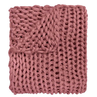 Chunky Knitted Throw - Mauve