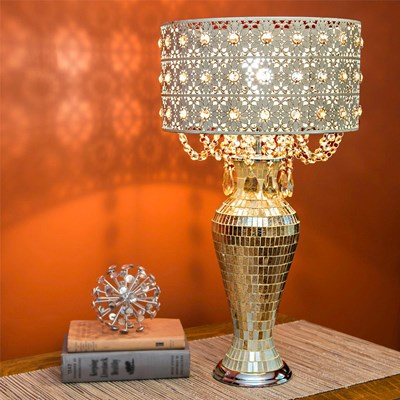 Jeweled Metal and Mosaic Table Lamp