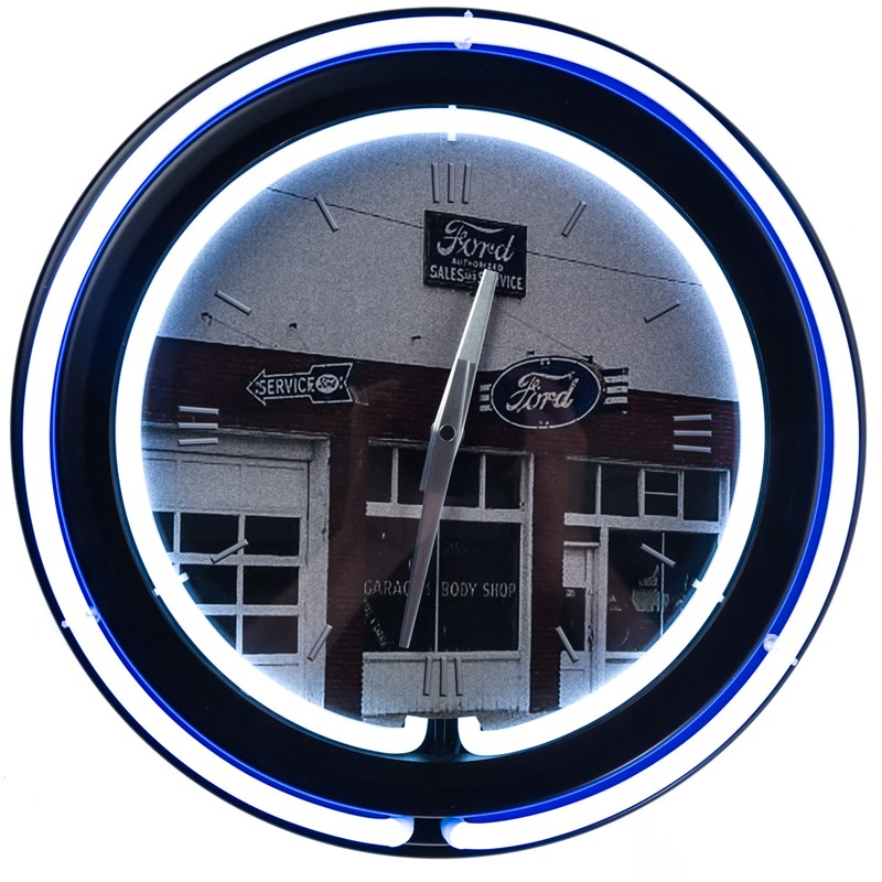 Ford Garage Double Neon Wall Clock 0