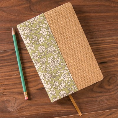 Green Floral Fabric and Weave Journal