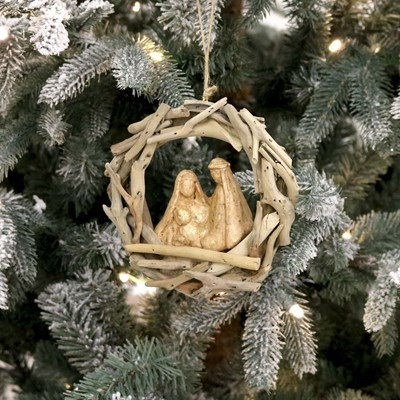 Driftwood Holy Family Ornament