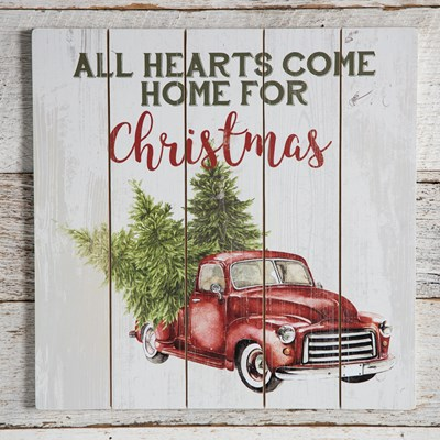 """Home for Christmas"" Red Truck Wall Decor"