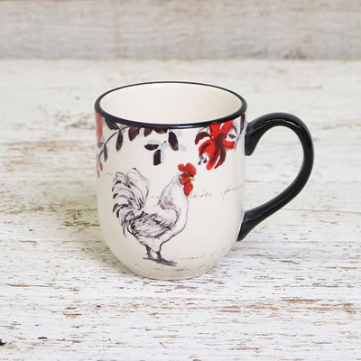 White Right Facing Rooster Mug