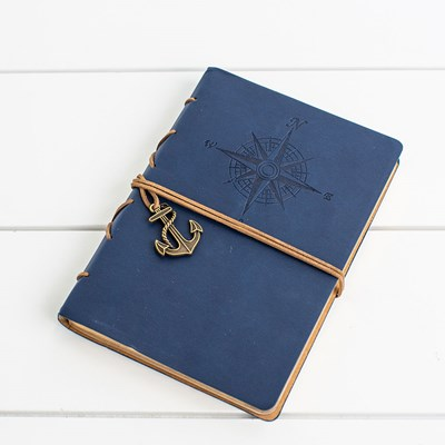 Blue Compass Leatherette Journal