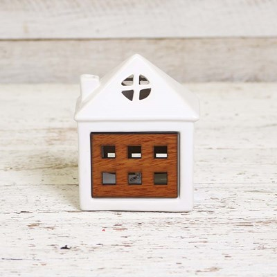 Light Up Small Ceramic House with Chimney
