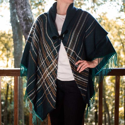 Pick Stitch Teal Toggle Shawl
