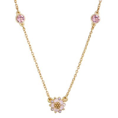 Swarovski Crystal Pink Flower Necklace - 14K Gold