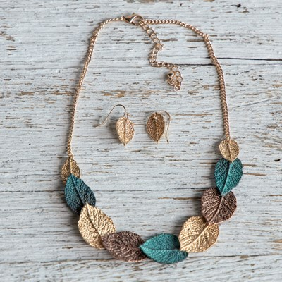 2-Piece Leaf Necklace and Earring Set