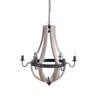 "27"" Round Wood and Metal Chandelier"