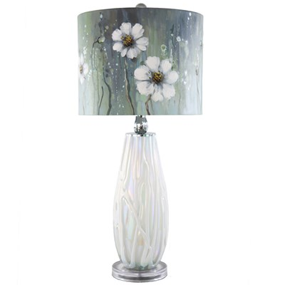 Magnolia Flower Table Lamp with Handpainted Shade