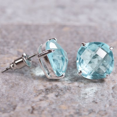 Silver Cushion-Cut Crystal Stud Earring