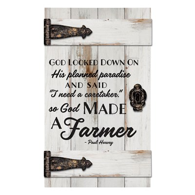 """God Made a Farmer"" Barn Door Wall Decor"
