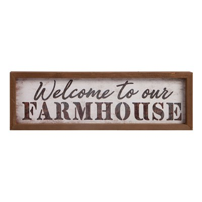 """Welcome To Our Farmhouse"" Framed Faux Metal Sign"