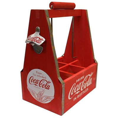 Wooden Coca-Cola ® Caddy with Bottle Opener