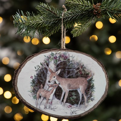 Wood Slice Ornament - Deer