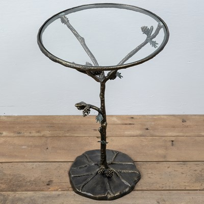 Aluminum Branch and Pinecone Side Table