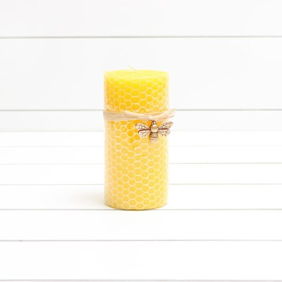 Large Honeycomb Pillar Candle with Bee Charm