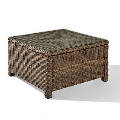 Bradenton Wicker Glass Top Sectional Table