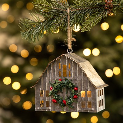 LED Light-Up Metal Barn Ornament
