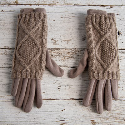 Taupe 2-In-1 Gloves