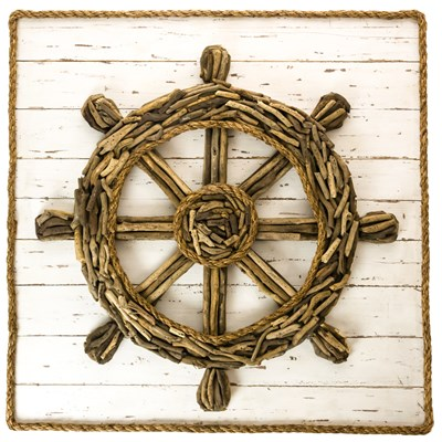 Driftwood Ship Wheel Wall Decor