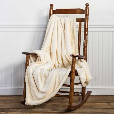 Embossed Hamel Sherpa Throw Blanket