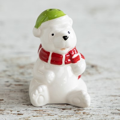 Mini Bear with Red Scarf Salt Shaker