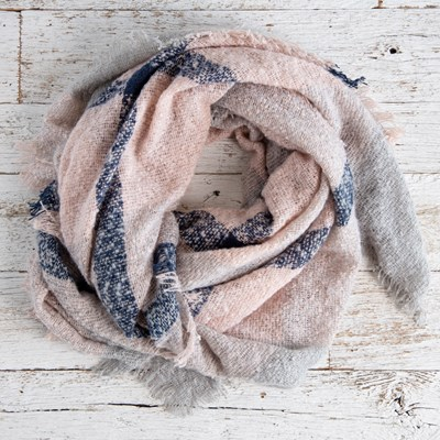 Blush and Navy Boucle Scarf
