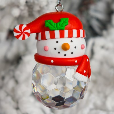 Snowman Head With Acrylic Bead Body Ornament